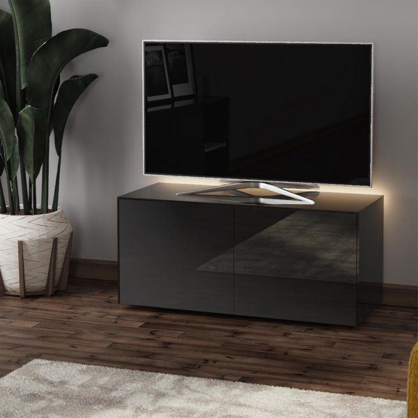 """Frank Olsen INTEL1100LED-BLK Gloss Black TV Cabinet For TVs Up To 50\"""" with LED Lighting and Alexa Compatibility"""
