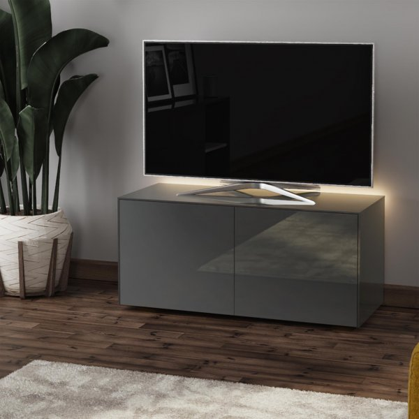 """Frank Olsen INTEL1100LED-GRY Gloss Grey TV Cabinet For TVs Up To 50\"""" with LED Lighting and Alexa Compatibility"""