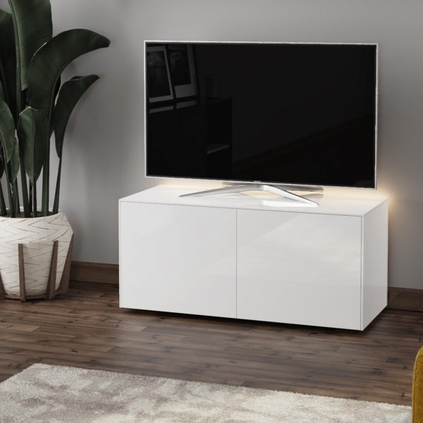 "Frank Olsen INTEL1100LED-WHT Gloss White TV Cabinet For TVs Up To 50"" with LED Lighting and Alexa Compatibility"