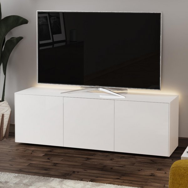 "Frank Olsen INTEL1500LED-WHT Gloss White TV Cabinet For TVs Up To 70"" with LED Lighting and Alexa Compatibility"