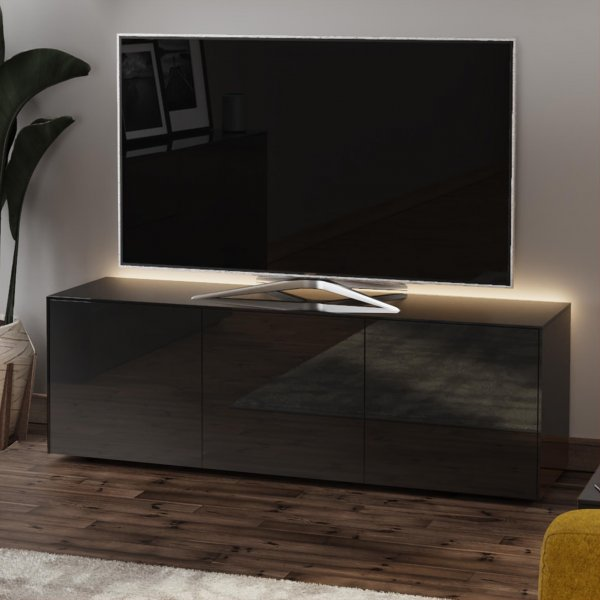 """Frank Olsen INTEL1500LED-BLK Gloss Black TV Cabinet For TVs Up To 70\"""" with LED Lighting and Alexa Compatibility"""
