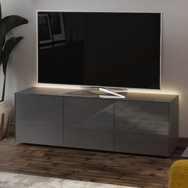 """Frank Olsen INTEL1500LED-GRY Gloss Grey TV Cabinet For TVs Up To 70\"""" with LED Lighting and Alexa Compatibility"""