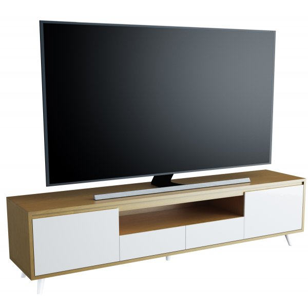 """AVF FS1800NAPOGW Nappa Flat TV Stand For Up To 90\"""" - Oak and White 1800mm"""