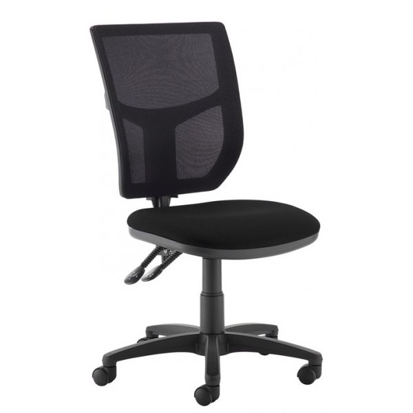 DSK Becker 2 lever high mesh back operators chair with no arms - black