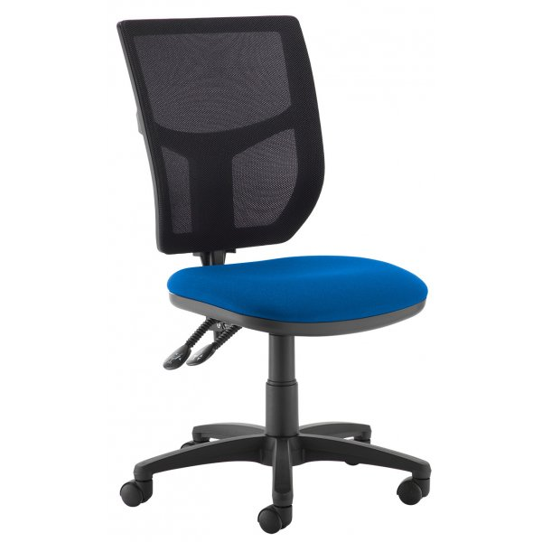 DSK Becker 2 lever high mesh back operators chair with no arms - blue
