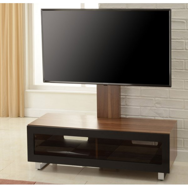 """TNW Munich TV Stand with Bracket for up to 55\"""" TVs - Walnut and Black"""