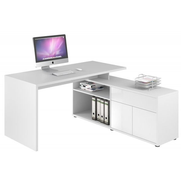 Maja 4020 3956 Maximus Desk & Return  - Icy White With High Gloss White drawer Fronts