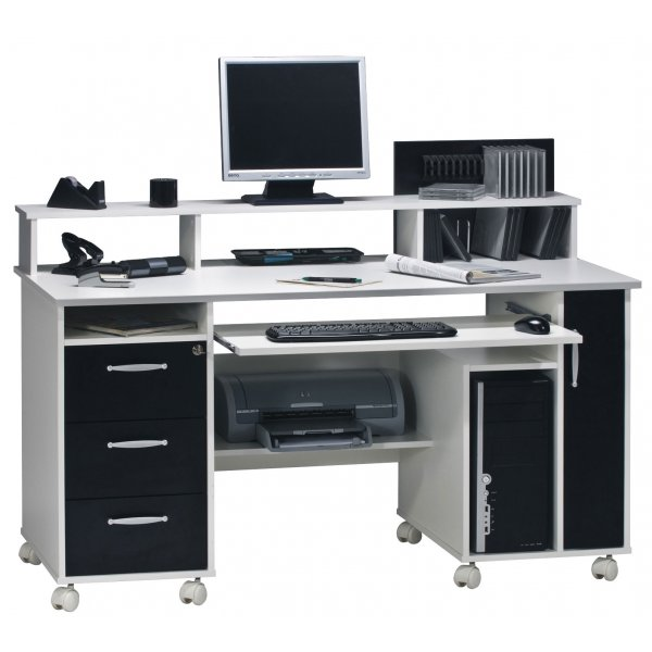 Maja 9475 3537 Exeter White and Black Computer Desk with Castors