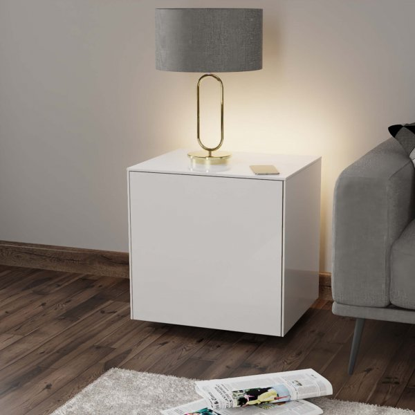 Frank Olsen INTELLAMP-LED-WHT Gloss White Lamp Table with LED Lighting and Alexa Compatibility