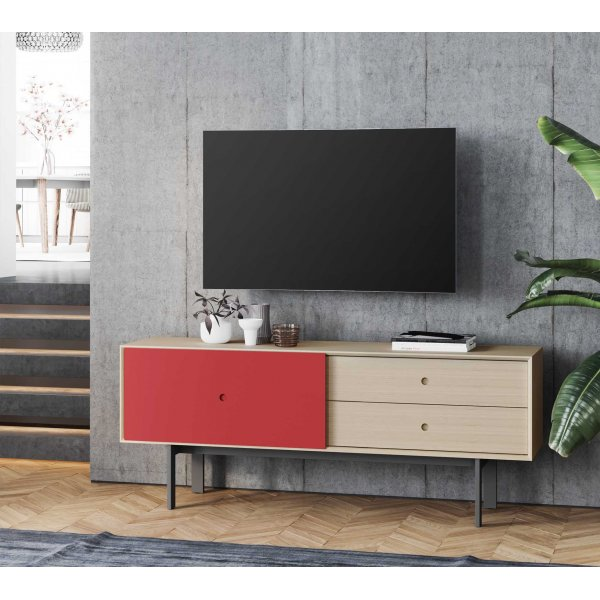 "BDI Margo 5229 Light Media Console & Storage Cabinet for up to 82"" TVs - Drift Oak & Cayenne"