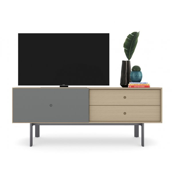 "BDI Margo 5229 Light Media Console & Storage Cabinet for up to 82"" TVs - Drift Oak & Fog Grey"