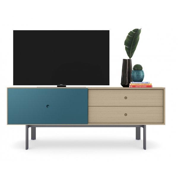 "BDI Margo 5229 Light Media Console & Storage Cabinet for up to 82\"" TVs - Drift Oak & Marine"