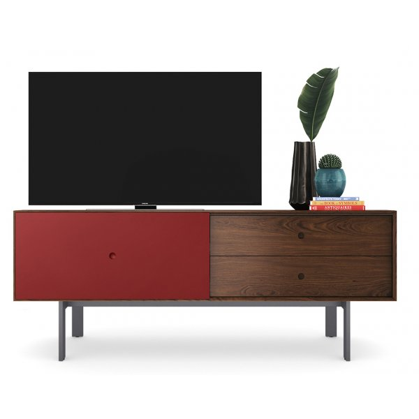 """BDI Margo 5229 Light Media Console & Storage Cabinet for up to 82\"""" TVs - Toasted Walnut & Cayenne"""