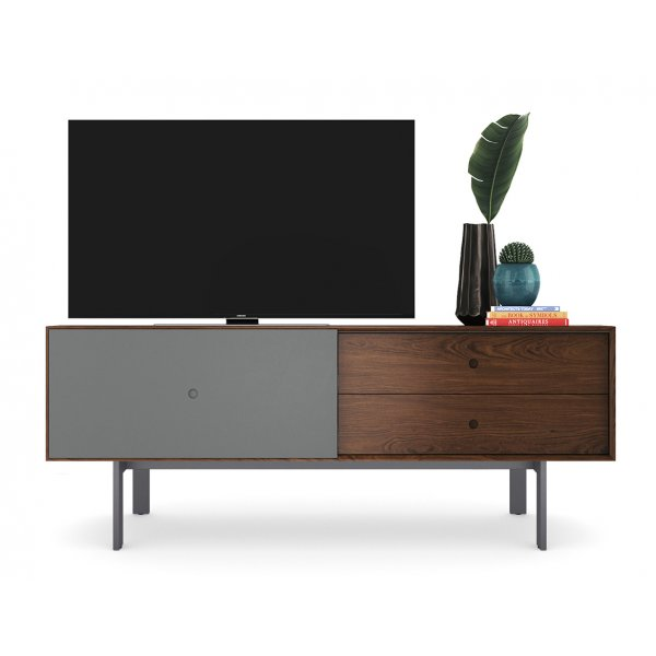 """BDI Margo 5229 Light Media Console & Storage Cabinet for up to 82\"""" TVs - Toasted Walnut & Fog Grey"""