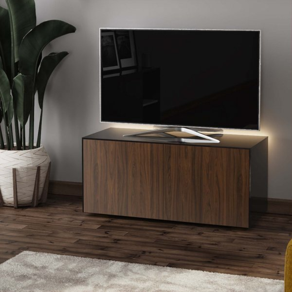 "Frank Olsen INTEL1100LED-BLK-WAL Gloss Black & Walnut TV Cabinet For TVs Up To 50"" with LED Lighting and Alexa Compatibility"