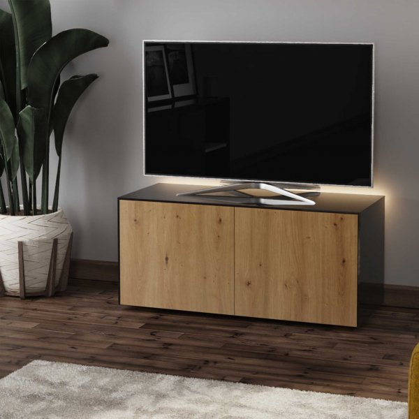 "Frank Olsen INTEL1100LED-BLK-OAK Gloss Black & Oak TV Cabinet For TVs Up To 50"" with LED Lighting and Alexa Compatibility"