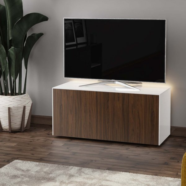 "Frank Olsen INTEL1100LED-WHT-WAL Gloss White & Walnut TV Cabinet For TVs Up To 50"" with LED Lighting and Alexa Compatibility"
