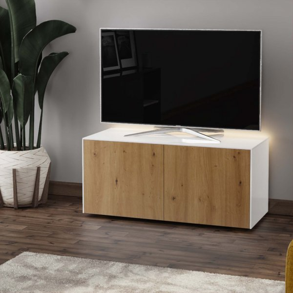 "Frank Olsen INTEL1100LED-WHT-OAK Gloss White & Oak TV Cabinet For TVs Up To 50"" with LED Lighting and Alexa Compatibility"