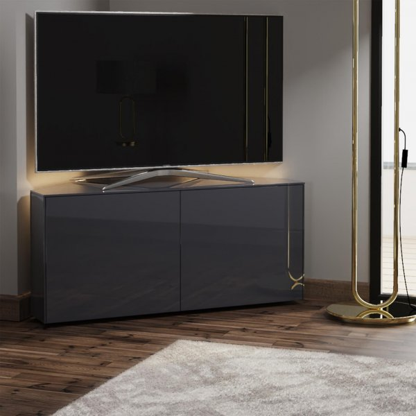 """Frank Olsen INTEL1100LED-CORNER-GRY Gloss Grey Corner TV Cabinet For TVs Up To 50\"""" with LED Lighting and Alexa Compatibility"""