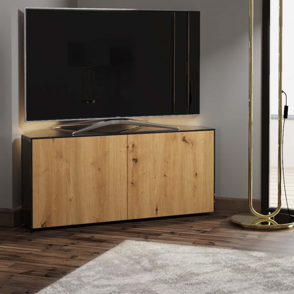 "Frank Olsen INTEL1100LED-CORNERBLK-OAK Gloss Black & Oak Corner TV Cabinet For TVs Up To 50"" with LED Lighting and Alexa Comp"