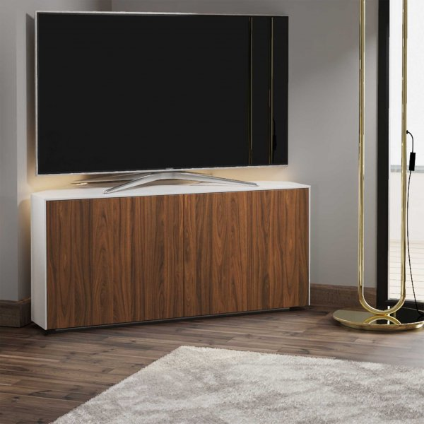 """Frank Olsen INTEL1100LED-CORNERWHT-WAL Gloss White & Walnut Corner TV Cabinet For TVs Up To 50\"""" with LED Lighting and Alexa Comp"""