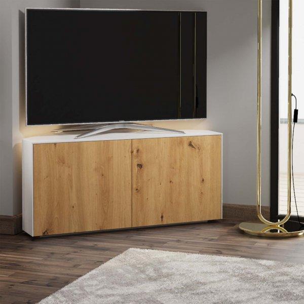 "Frank Olsen INTEL1100LED-CORNERWHT-OAK Gloss White & Oak Corner TV Cabinet For TVs Up To 50\"" with LED Lighting and Alexa Comp"