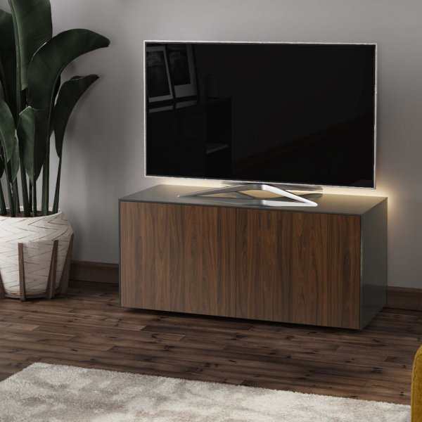 "Frank Olsen INTEL1100LED-CORNERGRY-WAL Gloss Grey & Walnut Corner TV Cabinet For TVs Up To 50"" with LED Lighting and Alexa Comp"