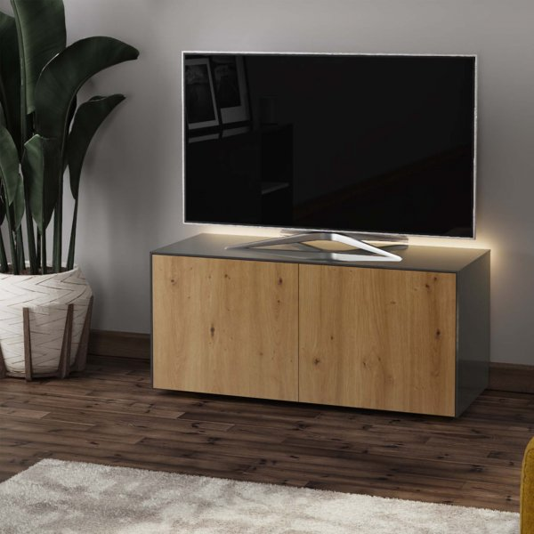 "Frank Olsen INTEL1100LED-GRY-OAK Gloss Grey & Oak TV Cabinet For TVs Up To 50"" with LED Lighting and Alexa Compatibility"