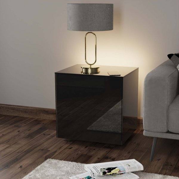 Frank Olsen INTELLAMP-LED-BLK Gloss Black Lamp Table with LED Lighting and Alexa Compatibility