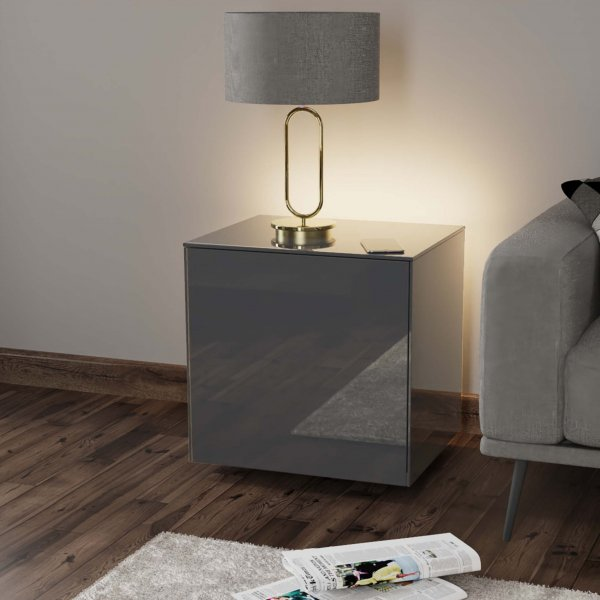 Frank Olsen INTELLAMP-LED-GREY Gloss Grey Lamp Table with LED Lighting and Alexa Compatibility