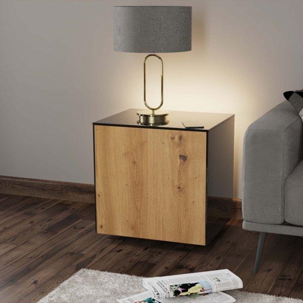 Frank Olsen INTELLAMP-LED-BLK-OAK Gloss Black & Oak Lamp Table with LED Lighting and Alexa Compatibility