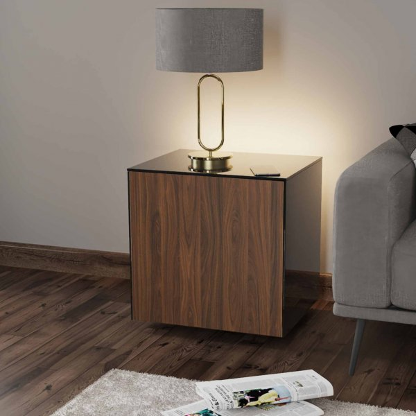 Frank Olsen INTELLAMP-LED-BLK-WAL Gloss Black & Walnut Lamp Table with LED Lighting and Alexa Compatibility