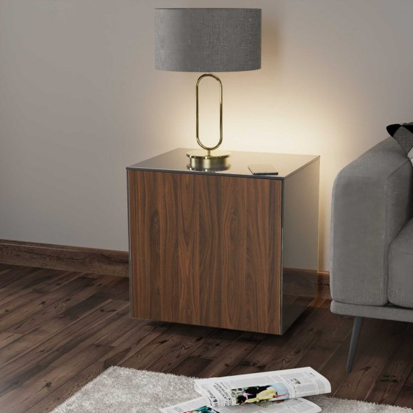 Frank Olsen INTELLAMP-LED-GRY-WAL Gloss Grey & Walnut Lamp Table with LED Lighting and Alexa Compatibility