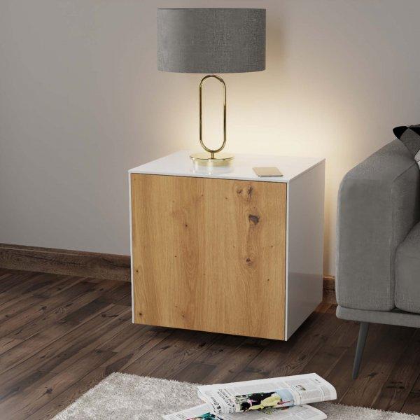Frank Olsen INTELLAMP-LED-WHT-OAK Gloss White & Oak Lamp Table with LED Lighting and Alexa Compatibility
