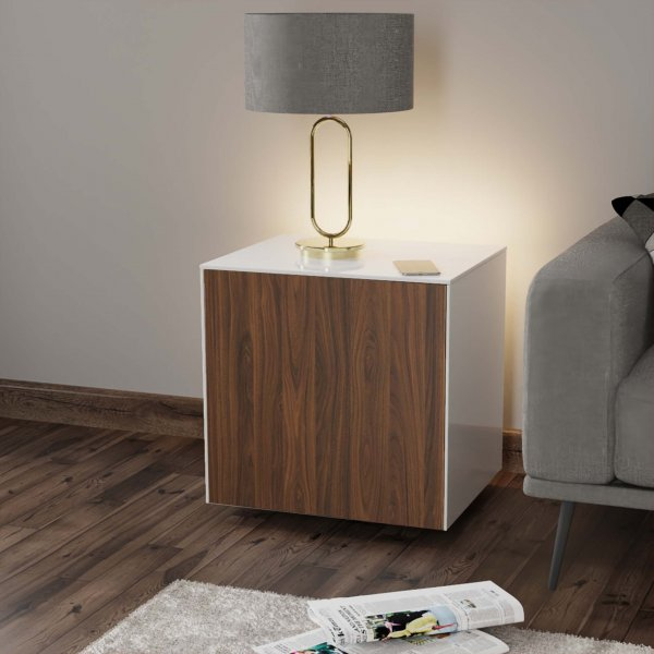Frank Olsen INTELLAMP-LED-WHT-WAL Gloss White & Walnut Lamp Table with LED Lighting and Alexa Compatibility