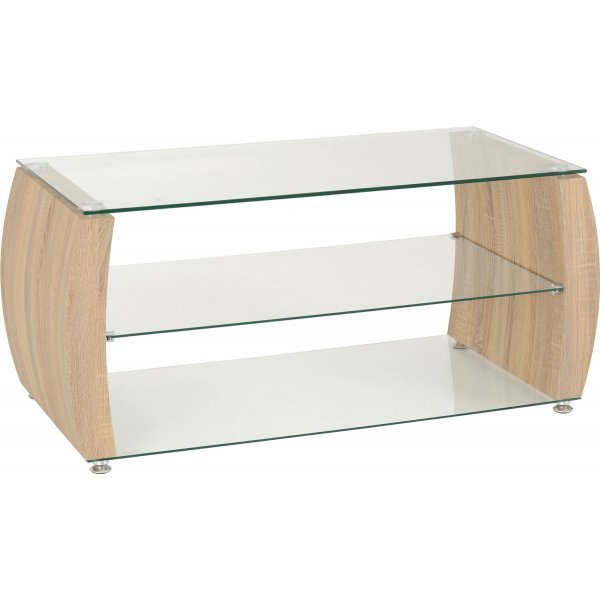 ValuFurniture Misano Oak Effect and Clear Glass TV Stand For TVs Up to 50""