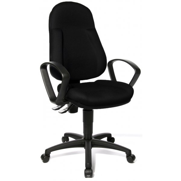 Topstar Wellpoint 10 Fabric Operator Desk Chair with Arms - Black
