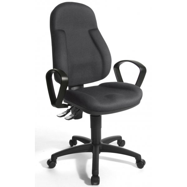 Topstar Wellpoint 10 Fabric Operator Desk Chair with Arms - Black and Grey