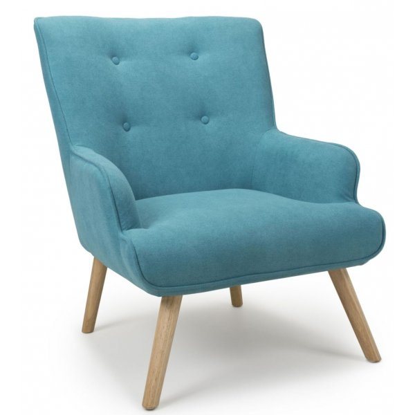 Shankar Cinema Flax Effect Turquoise Blue Armchair with Wooden Legs
