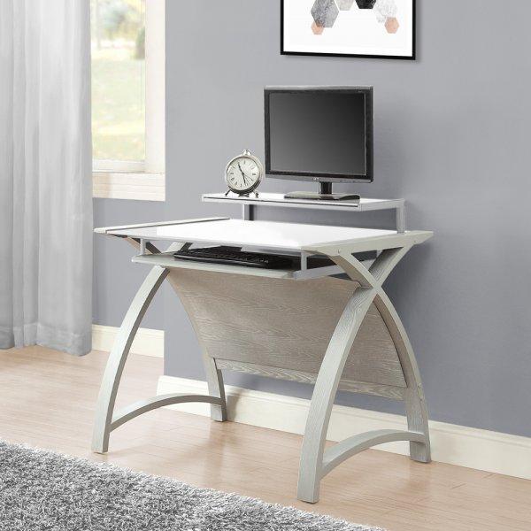 Jual Helsinki 900 Grey Ash Compact Desk - White Glass