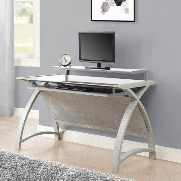 Jual Helsinki 1300 Grey Ash Compact Desk - White Glass