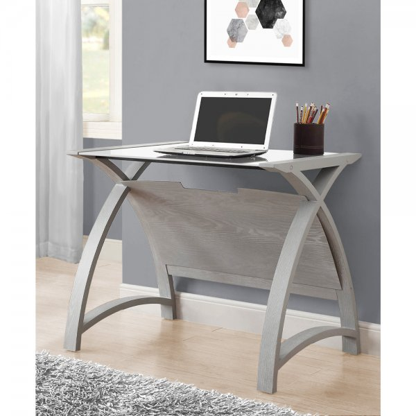 Jual Helsinki 900 Grey Ash Laptop Table - White Glass