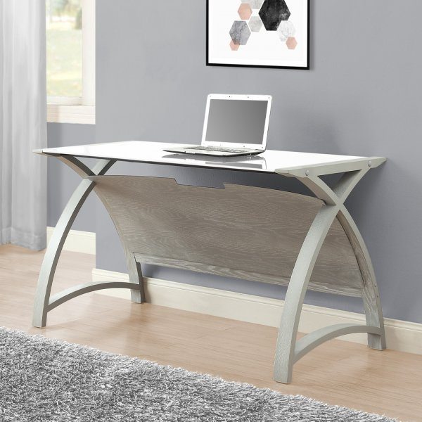 Jual Helsinki Grey Ash Office 1300 Laptop Table-White Glass