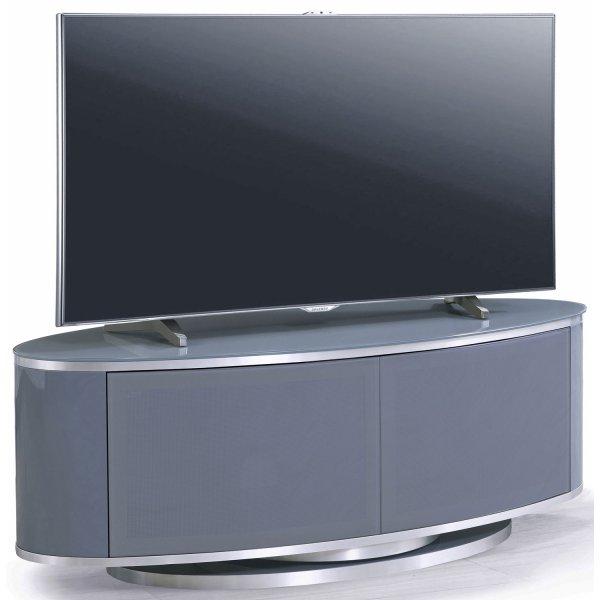 MDA LUNA High Gloss Slate Grey Oval TV Cabinet