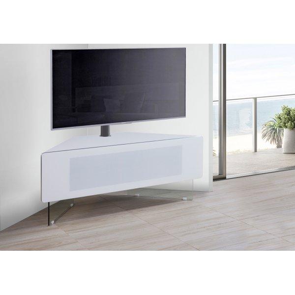 MDA Antares White Corner Cantilever TV Cabinet