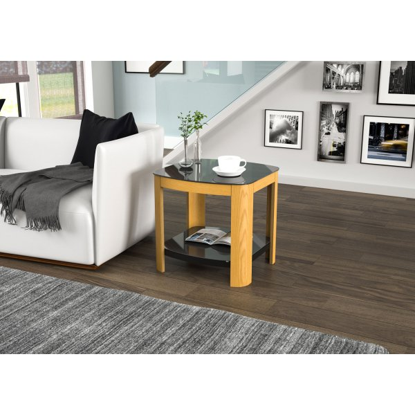 AVF Affinity FT50AFFO Oak and Black Glass Lamp Table