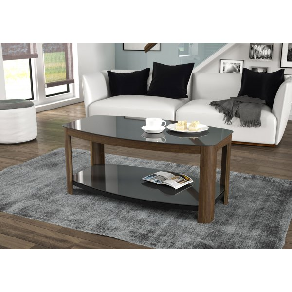 AVF Affinity FT100AFFW Walnut and Black Coffee Table