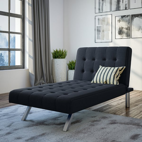 Emily Chaise Single Sofa Bed - Navy Blue Linen