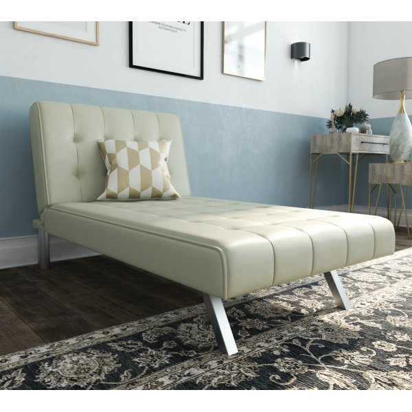 Emily Chaise Single Sofa Bed - Vanilla Faux Leather