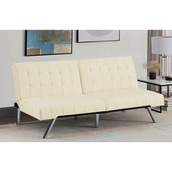 Emily Clic Clac Sofa Bed - Vanilla Faux Leather